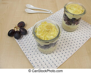 Trifle with vanilla yogurt