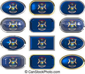 12 buttons of the Flag of Michigan - twelve buttons of the...