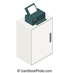 Isometric laser printer icon - Isometric laser printer on...