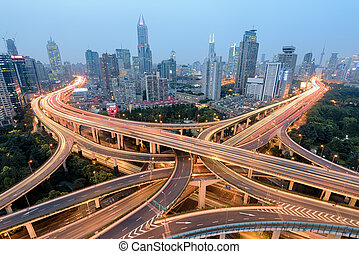 Shanghai Highway and Road Junction at Night. - Elevated view...