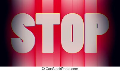 White stop inscription on red