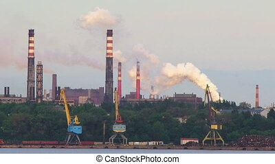 Industrial Plant Stacks Producing Heavy Smoke in Air - Video...