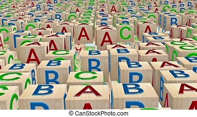 Wooden toy cubes with letters A,B,C