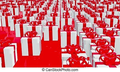 Gift boxes in white on red