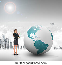 Buisnesswoman with big earth globe and city background