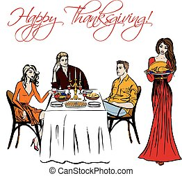 Thanksgiving dinner isolated - Thanksgiving dinner and woman...