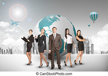 Group of buisnesspeople with earth globe with city...