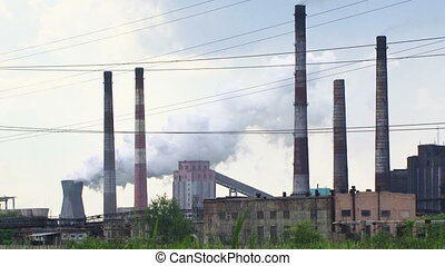 Environmental Pollution By Smoke Coming Out Of Factory Chimney