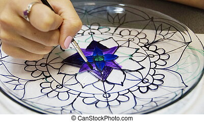 stained glass painting - painting with stained glass paints...