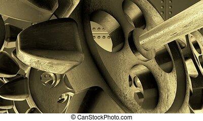 Rotating metal gears in vintage