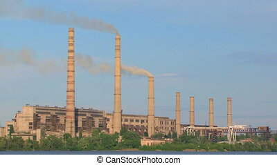 Power Plant Smoke Stacks Polluting Atmosphere - Overall plan...