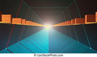 Abstract tunnel in blue with light at the end