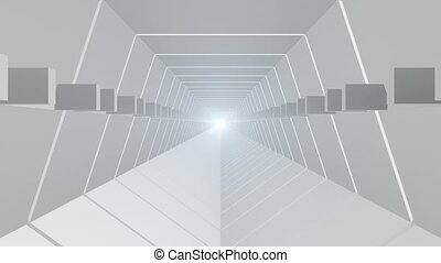Abstract tunnel in white with light at the end