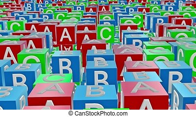 Toy cubes with letters A,B,C
