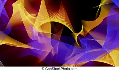 Abstract background in blue and yellow on black