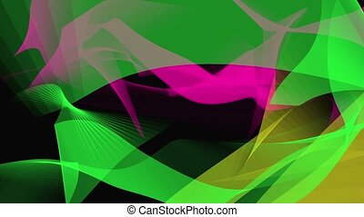 Abstract background in green,purple and yellow on black
