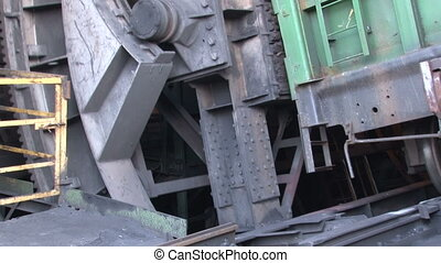 Working wagon-tipper close up