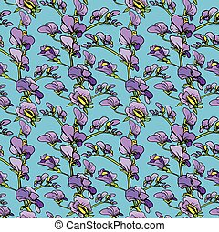 Seamless pattern with Realistic graphic flowers - sweet pea...