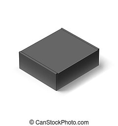 Carton Box - Close up Black Carton Box with the Realistic...