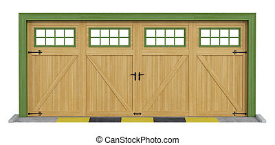 Classic two car wooden garage on white