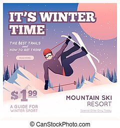 Winter Sport Poster - Winter sport poster with person in...