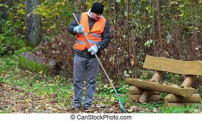 Man with rake collect leaves near bench in the park