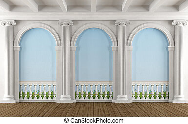 Classic room with colonnade and balustrade painted on the...