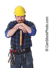 construction worker with helmet on white background