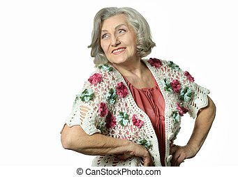 Portrait of elderly woman showing thumbs up on white...