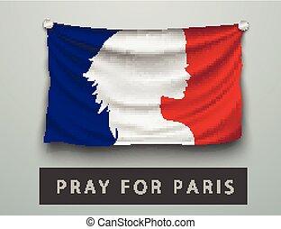 Pray for Paris terrorism attack, flag france - Pray for...