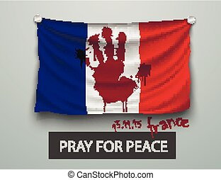 Pray for Paris terrorism attack, flag paris - Pray for Paris...