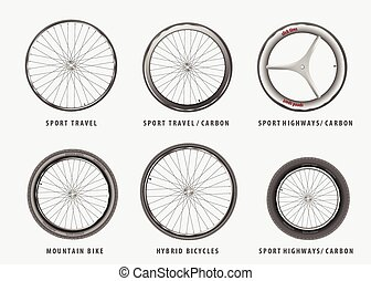 set of vector different types of bicycle wheels