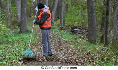 Worker collect leaves in the park on the path