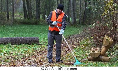Worker collect leaves in the park