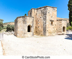 Monastery friary in Messara Valley at Crete island in Greece...