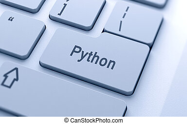 Python word button on computer keyboard with soft focus