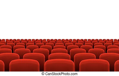Theater Seats - Rows of Cinema or Theater Red Seats