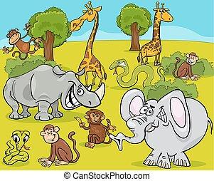 safari animals cartoon illustration - Cartoon Illustration...