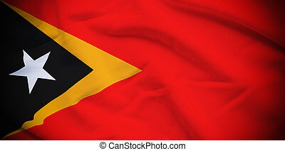 East Timor Flag - Wavy and rippled national flag of East...