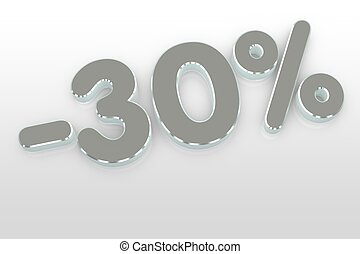 silver thirty percent discount symbol