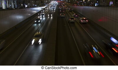 Lights of night city Cars and road timelapse Full hd video