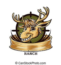 Cartoon Deer  mascot hunter label badge