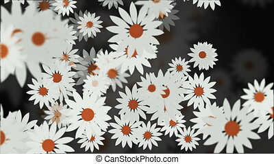 Abstract background with rotating flowers in white