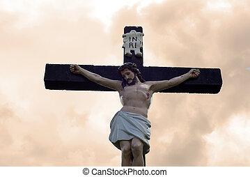 large crucifix in an irish graveyard - large crucifix in a...