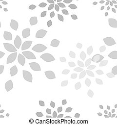 Stylized flower seamless pattern Petals white textile fabric...