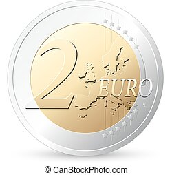 2 Euros - European currency - money concept