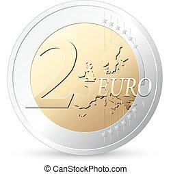 2 Euros - European currency - money concept