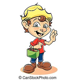 Cartoon Farmer Character with bag