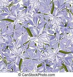 Seamless floral phlox divaricata background in realistic...