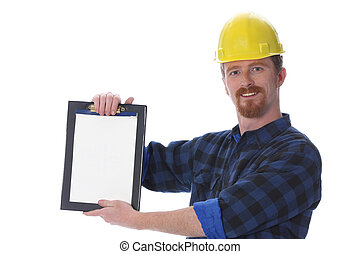 construction worker with documents